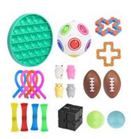 Fidget Dekompresyon Çocuk Oyuncak Seti Pop Fidget Elastik Halat Gökkuşağı Rugby Pinch Top Zinciri Çocuklar için Duyusal Oyuncak Sıkmak Aile EEA2231-4