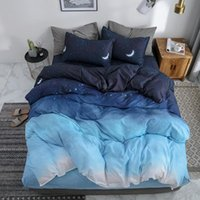 Bedding Sets 50 Night Sky Set Moon And Star Blue Gradient Color Comforter King Size Bed Sheet Pillowcases Duvet Cover