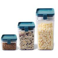 Storage Bottles & Jars 3Pcs Plastic Sealed Kitchen Grain Box Food Tanks Refrigerator Preservation