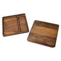 190mm quadrado natural bandeja de madeira da bandeja de madeira acessórios para fumar com sulco de rolagem portátil Cigarro HWB8139