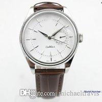 Montre Hommes Cellini Série 18K Silver Mechanical Montre Marron Cuir Bracelet Blanc Cadre Automatique Hommes Montres Montres Montres Montre-Bracelet