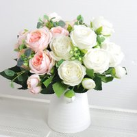 High Quality Artificial Flowers Peony White Pink Rose Bouquet Home Wedding Decoration Fake Flowers Craft Living Room Arrangement