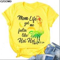 T Shirt Donne Cartoon Stampa Tempo libero Streetwear Streetwear Giallo Donna Tshirt divertente Gallo T Shirt Gallo Harajuku Abbigliamento estivo femminile
