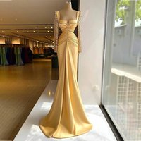 2021 Yellow Evening Dresses Satin Lace Long Sleeves Women Formal Party Mermaid Prom Dress Sweep Train Event Vestidos De Fiesta
