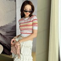 Women's Knits, quality embroidered classic striped top with high waist and half sleeves, worn outside