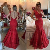 Red Long Lace Mermaid Evening Dresses Party with Pearls Beautiful Women Girl Plus Size Prom Formal Prom Gowns Wear