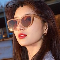 Güneş Gözlüğü Outmix Vintage Kırmızı Oval Kadınlar Moda Marka Tasarımcısı Retro Güneş Gözlükleri Bayanlar UV400 Feminino