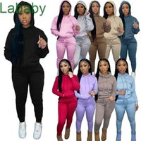 Women Tracksuits Two Pieces Set Designer Outfits Autumn Winter Style Plush Drawstring Hoodie Sweatpants Solid Sportwear 10 Colours