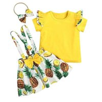 Vieeoease Girls sets Kids Clothing 2021 Summer Fly Sleeve Top Pineapple Design Bow Straps Dress CC-857
