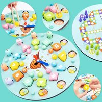 Pré-escolar Bebê Brinquedos Educação Educação Ensinar Aids Puzzle Digital Clock Clipe Grânulos De Madeira Brinquedos Magnéticos Forma De Pesca Correspondência H1009