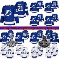 Tampa Bay Lightning Jersey 2021 Stanley Cup Champions 86 Nikita Kucherov 77 Victor Hedman 21 Brayden Point 88 Andrei Vasilevskiy الهوكي الهوكي