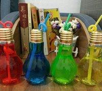 Nuova bottiglia di bevande della lampadina a LED 400ml 500ml BOTTIGLIA ACQUA DELL'ACQUA DI ACQUA DI ACQUA CREATIVA LUCELLO CURATA LUMINA BULB BULB BULB BOTTIGLIA DEL MIAGGIO TEA SPECIALE HH25W6GV