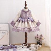 Bambina Autunno Molla Manica lunga Manica lunga Palazzo Viola Turco Vintage Princess Ball Gown Dress For Girl Birthday Chritmas 210303