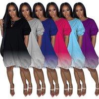 Casual Dresses 25M1113 Autumn Summer Women Gradient Print Bodycon Mini Dress Vestidos Plus Size
