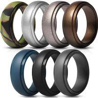 Homens de silicone anéis de borracha bandas de casamento flexível silicone confortável ajuste anel de luz multi cores e tamanho homens jóias ps1620