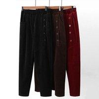 Women's Pants & Capris Winter Corduroy Women Thick Warm Large Size Fashion Buttons Elastic High Waist Harem Pant Causal Loose Baggy Trousers