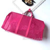 Hot-sell rosa blue keepall bandouliere 50 saco dlefle mens valiabas de malha de tecido de tela de alta qualidade
