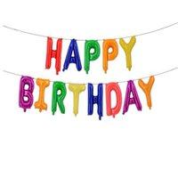 """5Sets / lote 13 pcs / set feliz aniversário carta conjunto de 16 polegadas balão de folha 16 """"Ballon para bebê crianças decoração da festa de aniversário"""