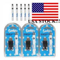 USA Stock-Kekse Batterie 510 VAPE-Batterien Batterien 350mAh Vorwärmen Vape-Kartuschen Batterie einstellbar Spannung 3.4-4.0V mit USB-Ladegerät 500pcs / Case Schnelle Lieferung