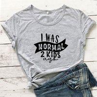 나는 정상적인 2 아이들이었습니다. 재미있는 T 셔츠 여성 반팔 코튼 티셔츠 여성 티셔츠 캐주얼 캐주얼 Camiseta Mujer O-Enck Chemise Femme 210310