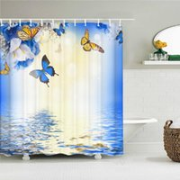 Shower Curtains Colorful Flower Butterfly Fabric Curtain Bathroom With Hooks Waterproof Printing Floral Bath Home Decor
