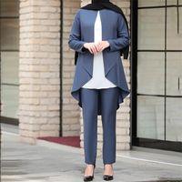 Wepbel Musulman Femme 2 pièces Converses Femmes Ensembles Longues Manches Tops Blouse + Pantalons Couleur Solide Summer Islamic Fashion Outfits X0612