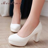 MEOTINA Femmes Chaussures Chaussures Haute Talons Plate-forme Pompes épais Talon Plus Taille 34-43 Causale Automne Beige Blanc Rose Zapatos Mujer 210610