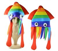 Rainbow Octopus Hat Party Colorful Squid Cap Halloween Cosplay Sea Animal Costume Funny Crazy Headwear Accessories