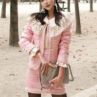 2021 New Houndstooth 작은 향기로운 모직 트위드 2 조각 세트 여성 한국 가을 겨울 빈티지 자켓 코트 + Bodycon 미니 스커트 N7nx 세트