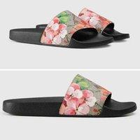 2021 Blooms Print G Canvas Pantofole da ricamo Designer da ricamo Delle Donne Slides Sandali Floral Broccato Flip Flops Striscia Beach in pelle Slipper in pelle