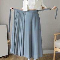 Women's Pants & Capris 2021 Spring Summer Style Korean Women Pleated Chiffon Trousers Plus Size High Waist Hakama Casual Wide Leg Pantalones
