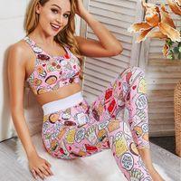 Primavera ed estate 2019 Cartoon Pattern Yoga Suit Slim Breeches Yoga Suit Sport Fitness Suita Suit Femmina