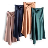 Skirts Acetate Satin Skirt Female Spring And Autumn Sexy Package Hip Style High Waist Irregular Side Zipper Mid-length