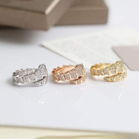 Punk band snake ring with diamond in 18k gold plated rose platinum color for women wedding jewelry gift have box stamp PS4470