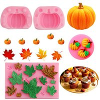 Pumpkin Silicone 3D Cake Moulds Baking Maple Leaf Mold Moule Mousse Ice Cream DIY Pastry Decorating Dessert Chocolate Mould Bake Tools wzg HP1031