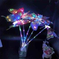 Tiktok Butterfly Wings Shine Toys Light-up Path Patio Luz Luz Lámparas al aire libre Luces de jardín Mariposa Fairy Flash Stick Gift G58x6er