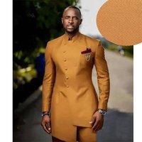 Men's Suits & Blazers 2021 Est Wedding Men Suit Set Custom Slim Fit Red Man Groom Dress Tuxedo Prom Dinner Gold Robe Blazer Pants 2Pc