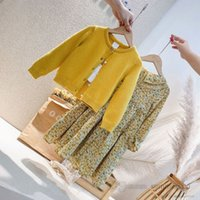 Girls princess clothing sets kids floral printed falbala lapel preated dress+pearls buckle knitted sweater cardigan 2pcs fall children outfits Q2853