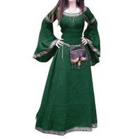 Retrô mulheres medieval comprimento total manga longa rodada pescoço festas festas vestido cosplay