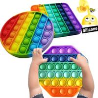 Rainbow Push Pop Fidget Toys Sensosory Push Bubble Fidget Sensory Autism Особые нуждается в тревожном напряжении для офисных работников флуоресцен