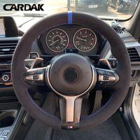 Steering Wheel Covers CARDAK Black Suede Leather Car Cover For F87 M2 F80 M3 F82 M4 M5 F12 F13 M6 F85 X5 M F86 F33 X6 F30 Sport