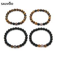 Charm Bracelets SAUVOO 2021 Fashion Tiger Eye Natural Stone Beads Bracelet For Women Men Black Yellow Color Baseball Stretch