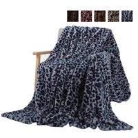 Decken Elegant Leopard Design Fuzzy Decke Blätter super weiche Kaninchenpelz Kristall Kurzer Plüsch Bettwäsche Sofa Cover WLL407