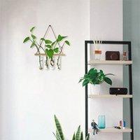 Vägg hängande glas terrarium luftplanterhållare växthängare blomma vas med träram 4 provrör för fortplantning
