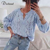 DiCloud Blue Pay Out Женские кардиганы осень зима круглые шеи Кнопка вязаные свитера женские модные трикотажные одежды