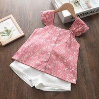 Melario Baby Summer 캐주얼 복장 세트 인쇄 꽃 탑 및 반바지 2 컷 소녀 어린이 의류