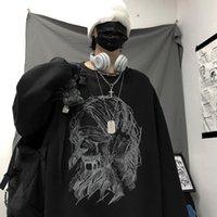 Giacche da donna Gothic Deeptown Anime Stampa con cappuccio da donna Crewneck Manica nera Autumn NightGown Faerie Grunge Long Pullover Eole