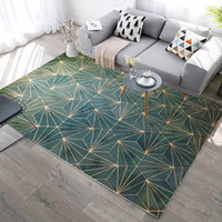 Abstract Geometric Lines Green Carpet For Living Room Sofa C...