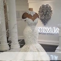 2018 New Designer Luxury Dubai Arabic Mermaid Wedding Dresses Plus Size Beading Crystals Court Train Wedding Dress Bridal Gowns C