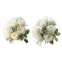 Искусственные цветочные розы с Babysbrith Leakes Свадебный букет свадьбы Реалистичные Искусственные растения Настольный Центр Центр Центр Деко